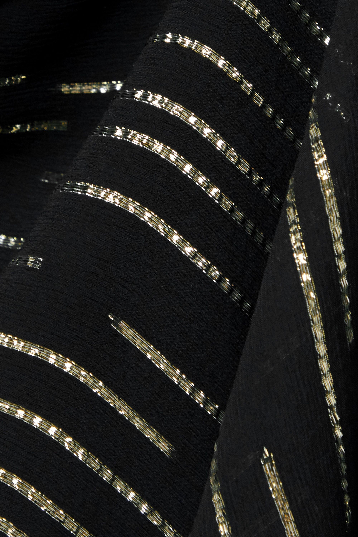 SAINT LAURENT Minikleid aus Krepon aus einer Seidenmischung mit Metallic-Fil-Coupé, asymmetrischer Schulterpartie und Cut-out