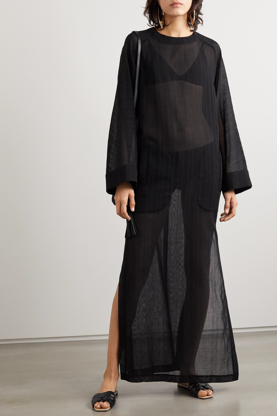 SAINT LAURENT Wool-voile kaftan