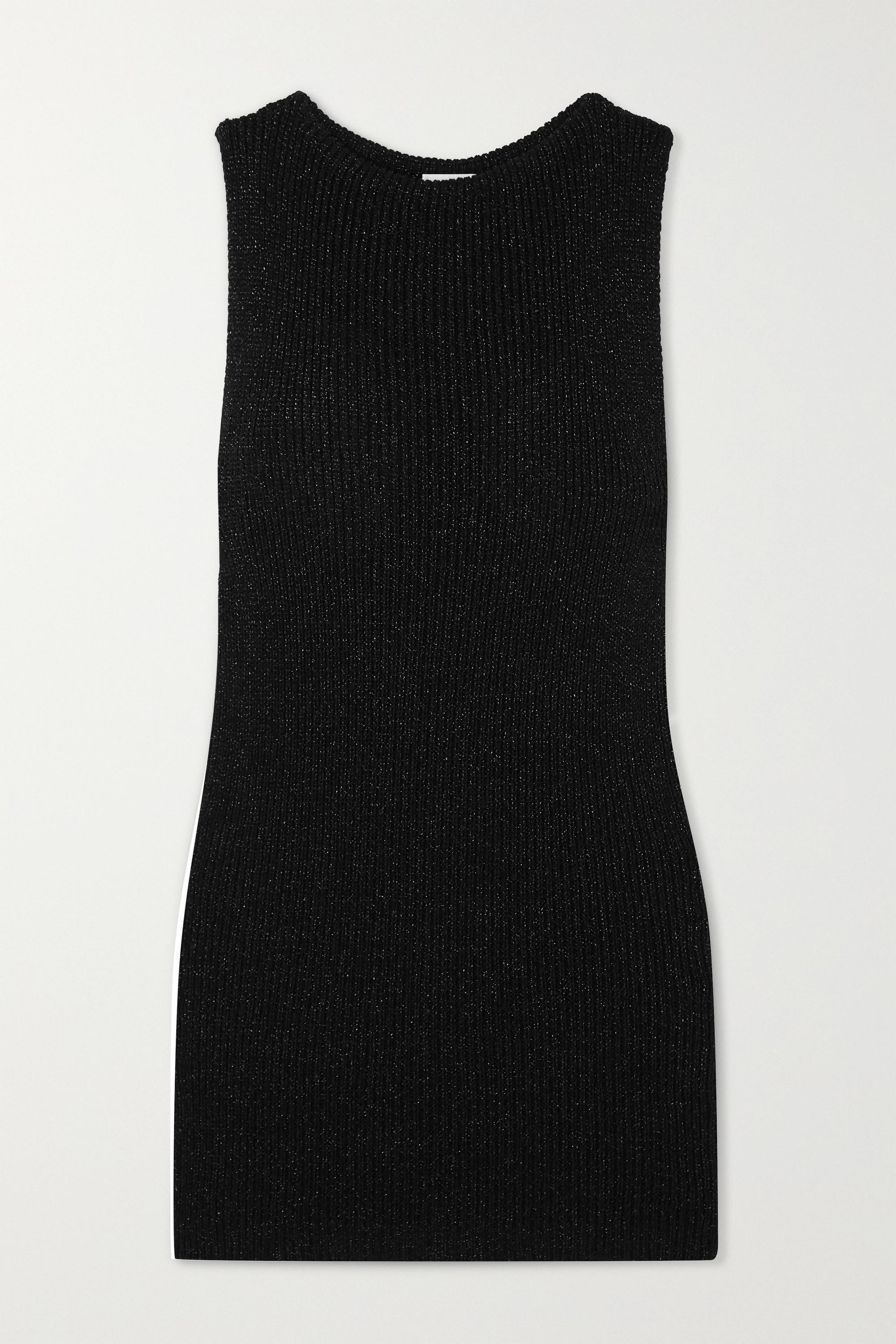 SAINT LAURENT Metallic ribbed-knit mini dress