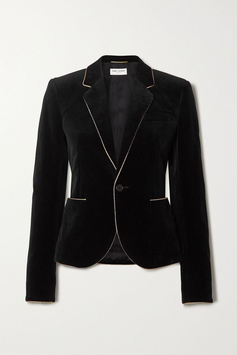SAINT LAURENT Metallic-trimmed velvet blazer