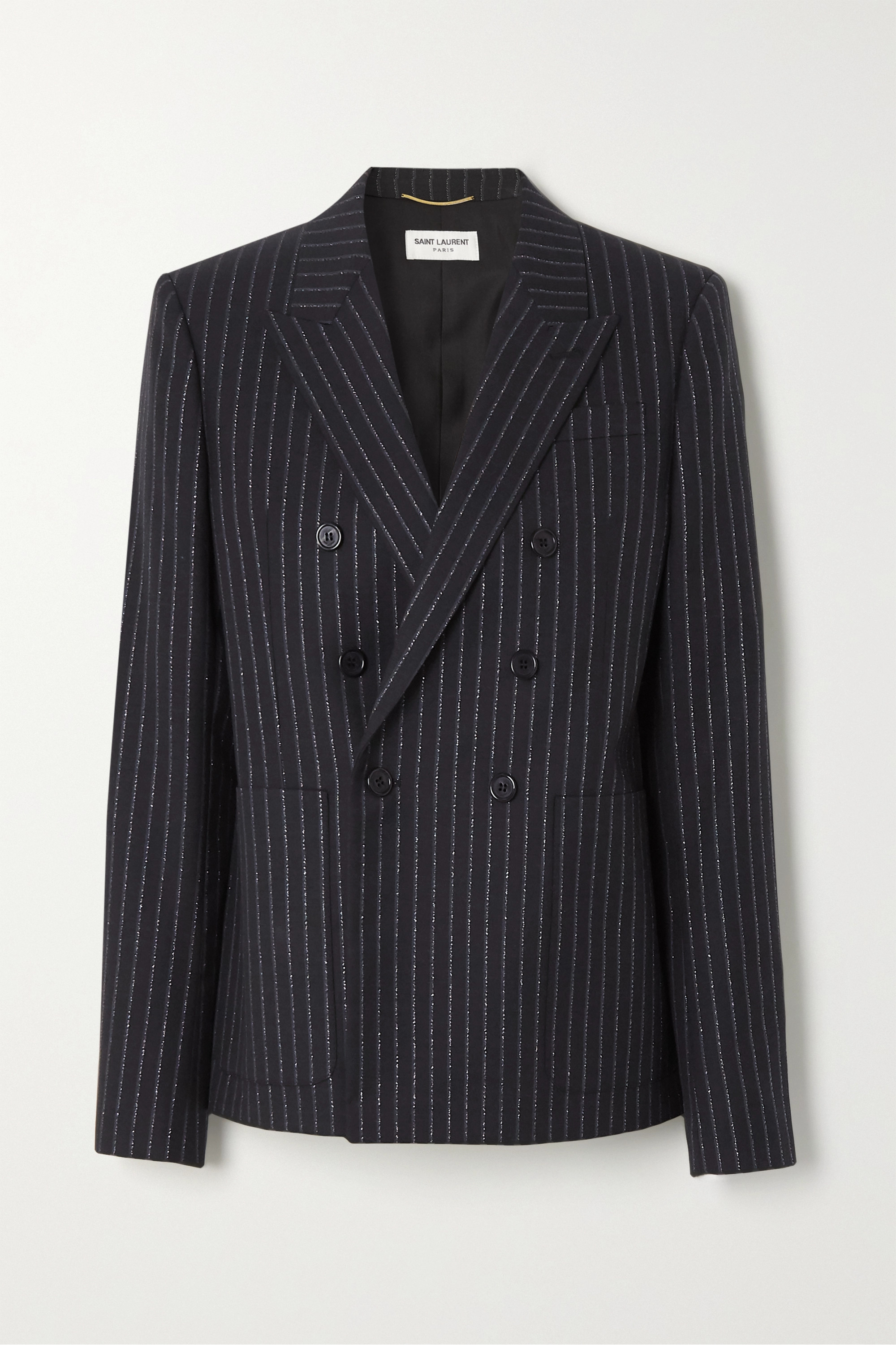SAINT LAURENT Double-breasted metallic pinstriped wool-blend twill blazer