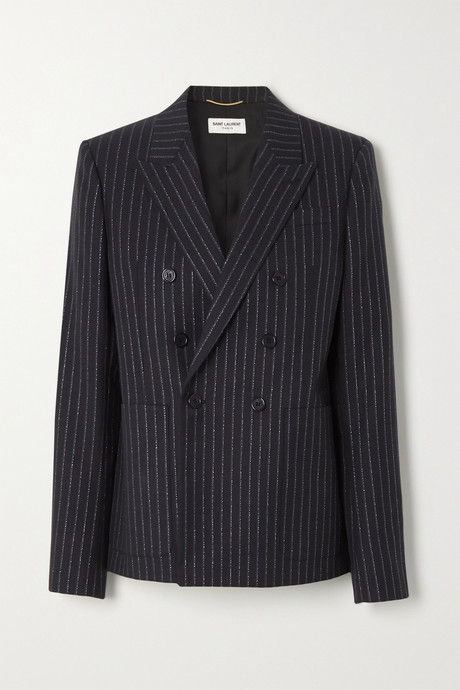 Black Double-breasted metallic pinstriped wool-blend twill blazer | SAINT LAURENT o7WUk3