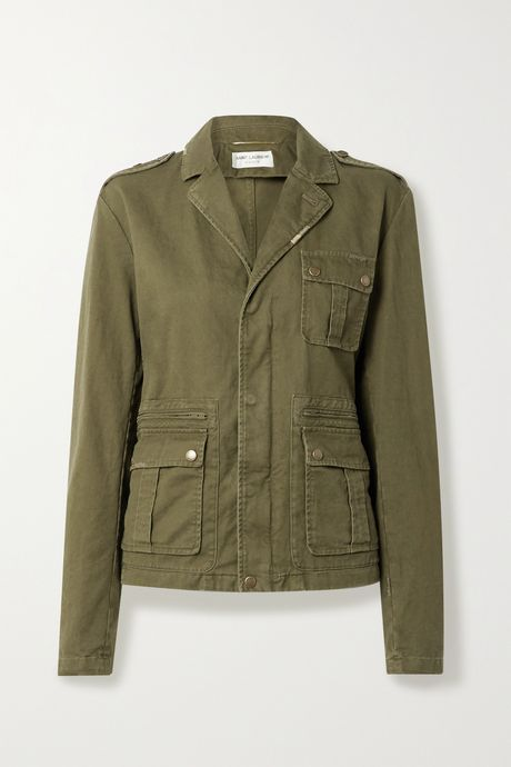 Army green Cotton and ramie-blend drill jacket | SAINT LAURENT HLKMVF