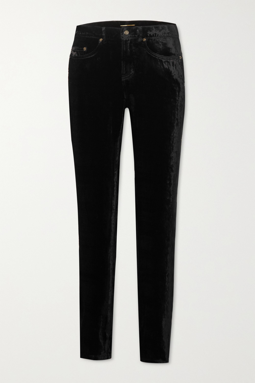SAINT LAURENT Pantalon skinny en velours stretch