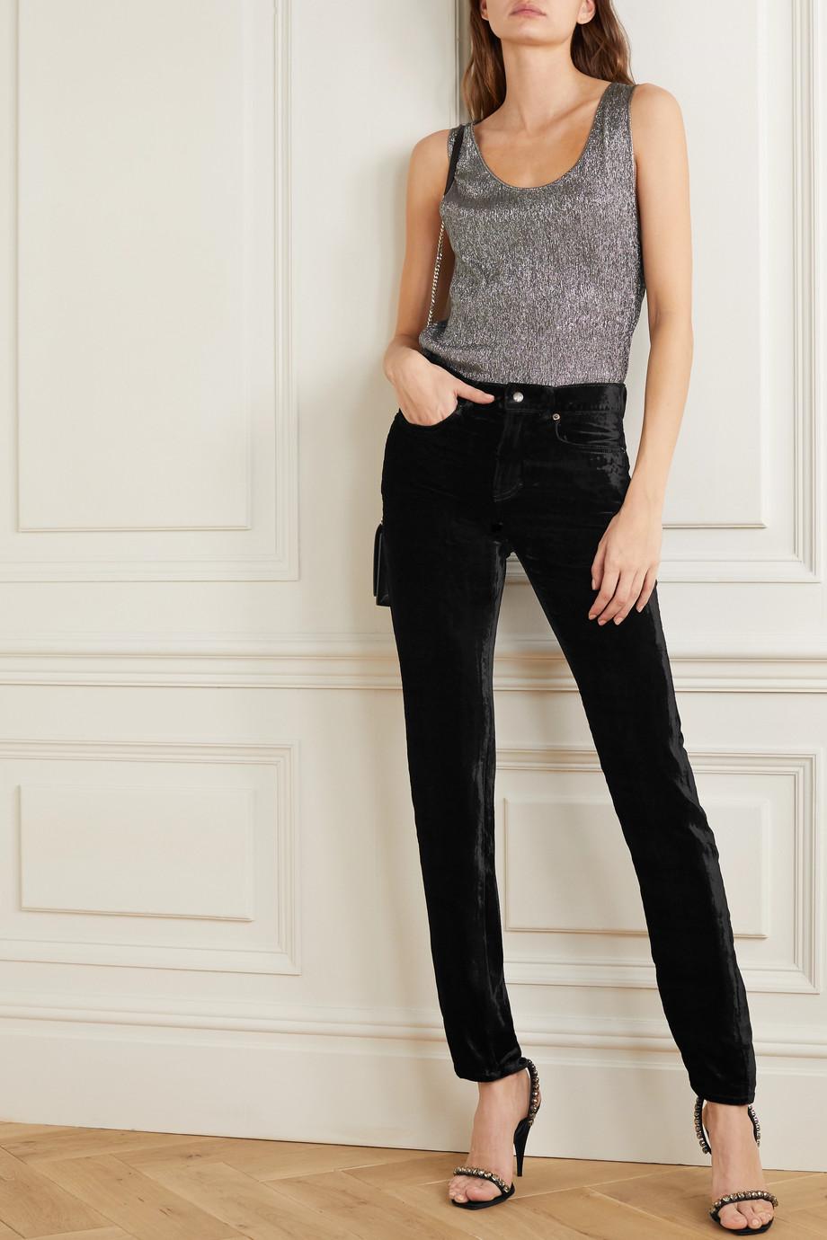 SAINT LAURENT Stretch-velvet skinny pants