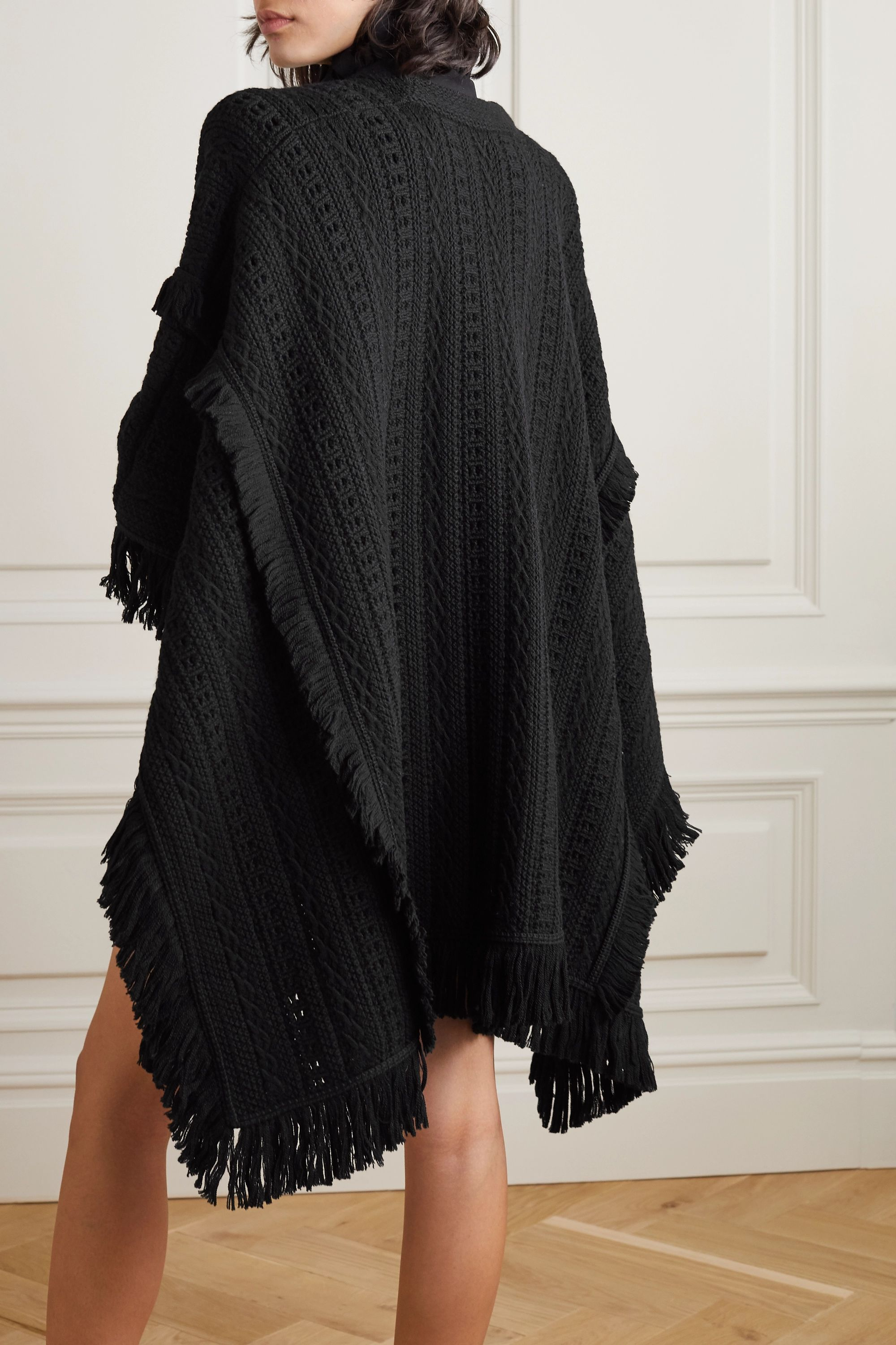 SAINT LAURENT Fringed crochet-knit wool cape
