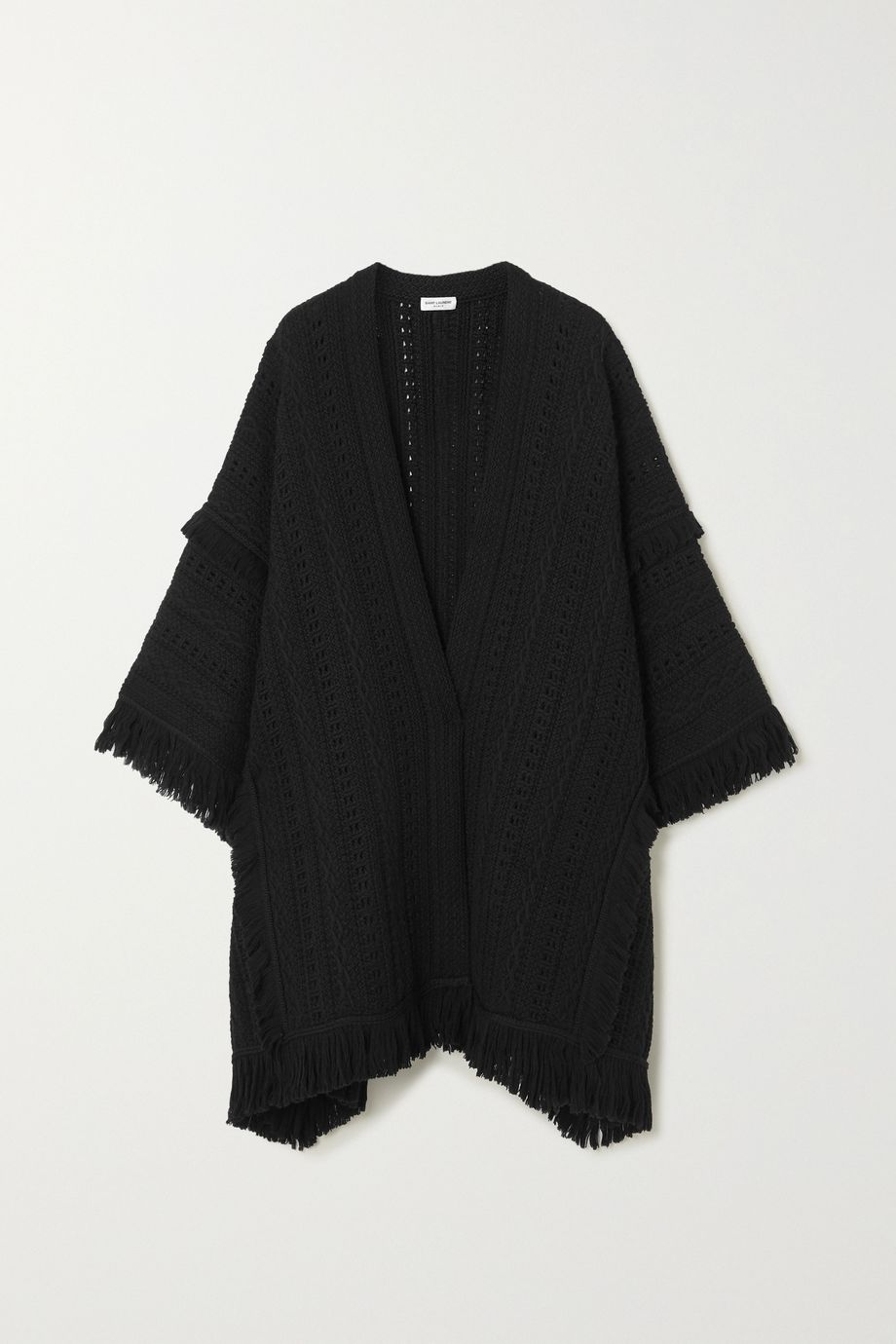 SAINT LAURENT Fringed crochet-knit wool cape