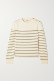 SAINT LAURENT Button-detailed metallic striped knitted sweater
