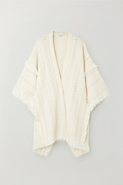 SAINT LAURENT Fringed wool poncho