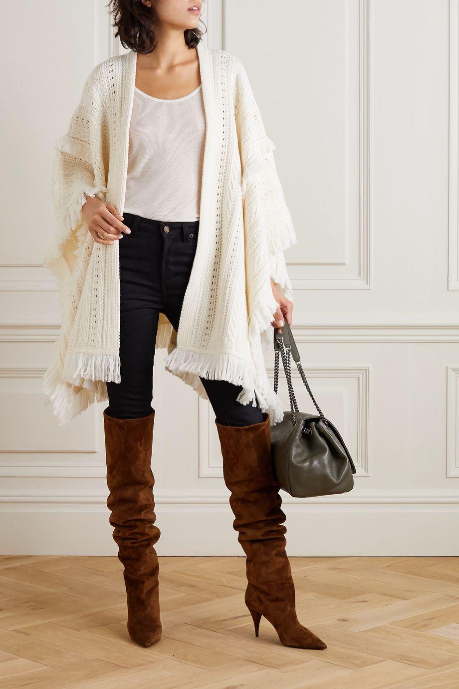 SAINT LAURENT Überwurf aus Wolle mit Fransen