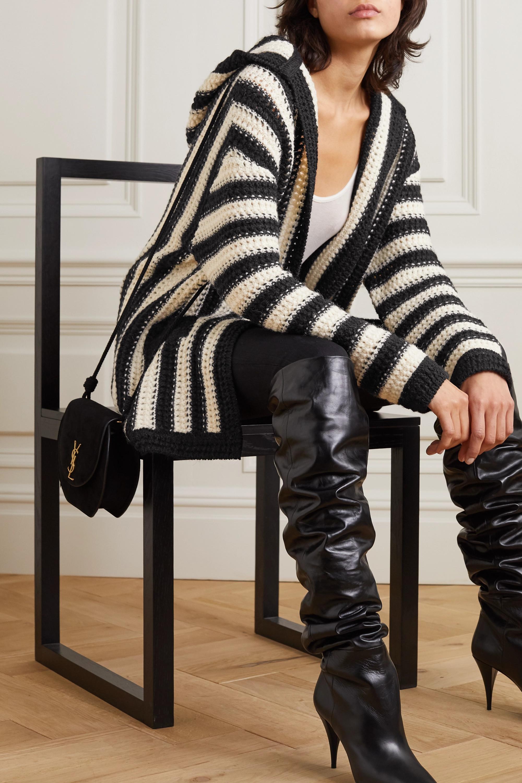SAINT LAURENT Hooded striped crochet-knit wool cardigan