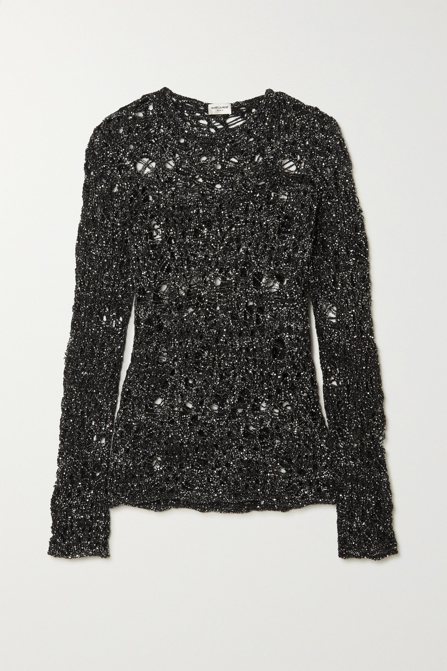 SAINT LAURENT Sequined distressed open-knit sweater