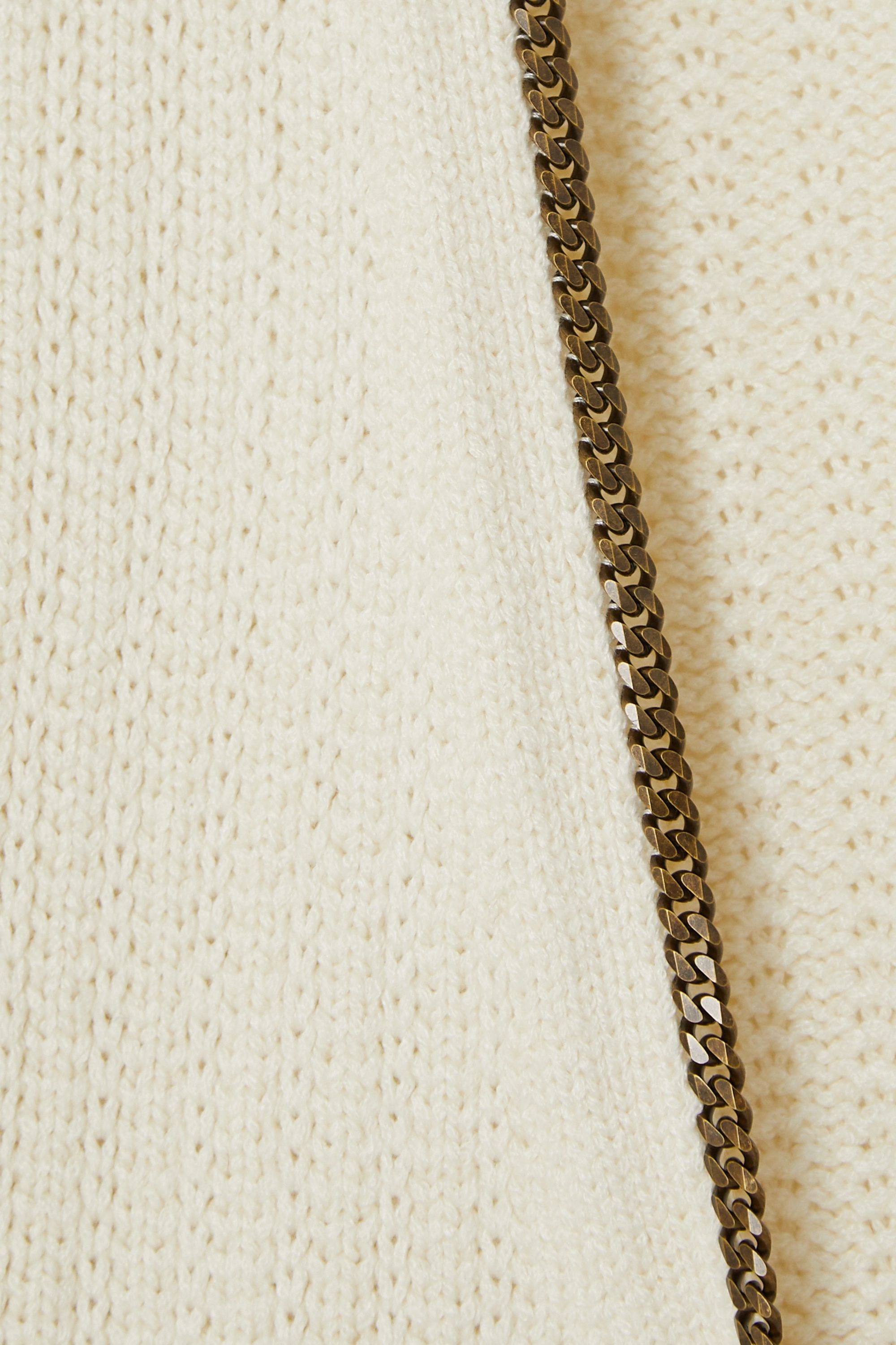 SAINT LAURENT Chain-embellished knitted cardigan