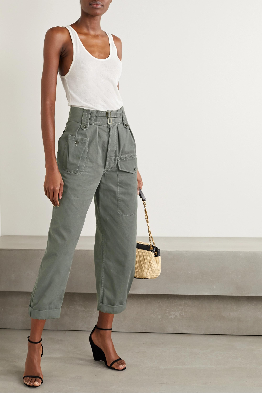SAINT LAURENT Cotton and ramie-blend drill cargo pants