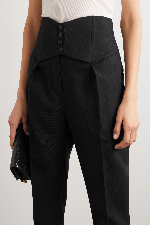 SAINT LAURENT Pantalon droit en serge de laine à boutons
