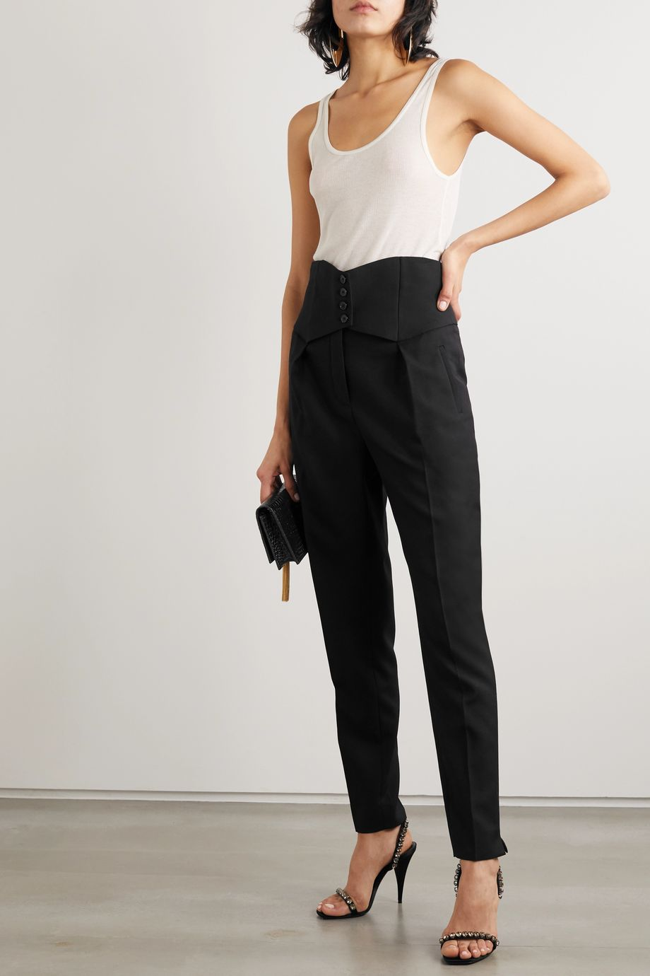 SAINT LAURENT Button-detailed wool-twill straight-leg pants