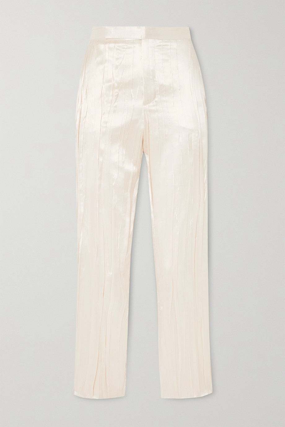 SAINT LAURENT Pleated silk-blend satin slim-fit pants