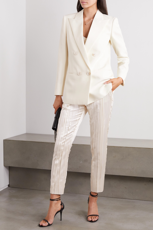 SAINT LAURENT Pleated silk-blend satin slim-fit pants