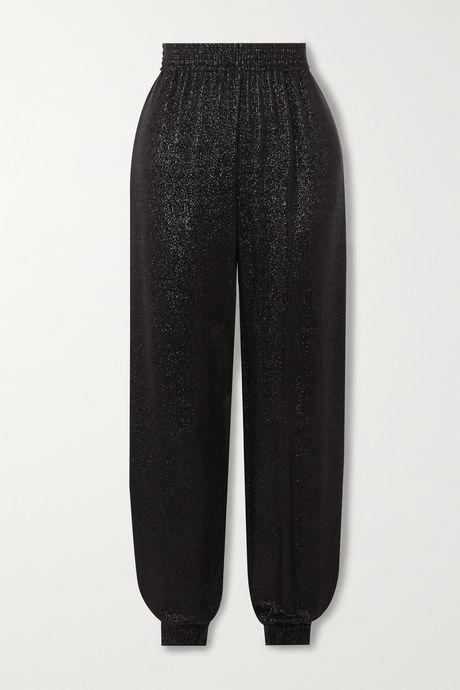 Black Metallic knitted track pants | SAINT LAURENT S8Gxa0