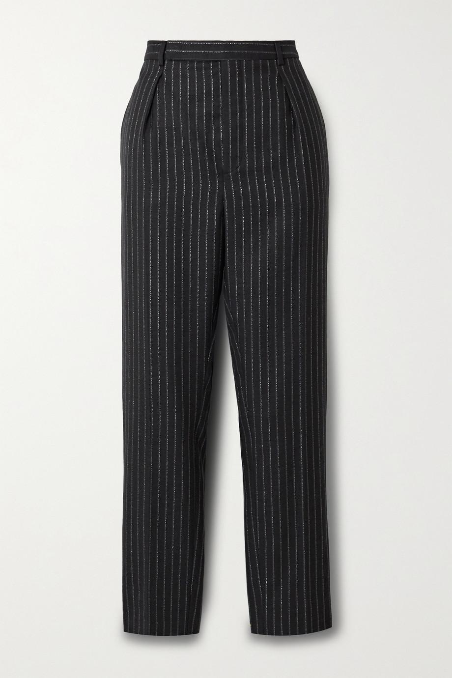 SAINT LAURENT Cropped metallic pinstriped wool-blend twill straight-leg pants