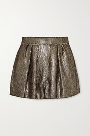 Sequined crepe shorts