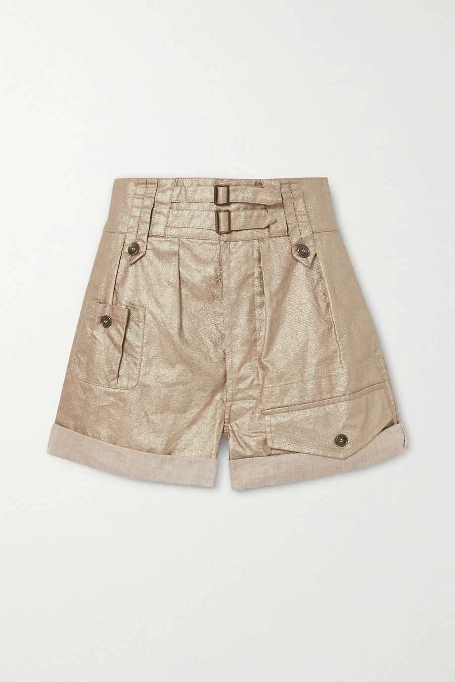 SAINT LAURENT Buckled metallic linen shorts
