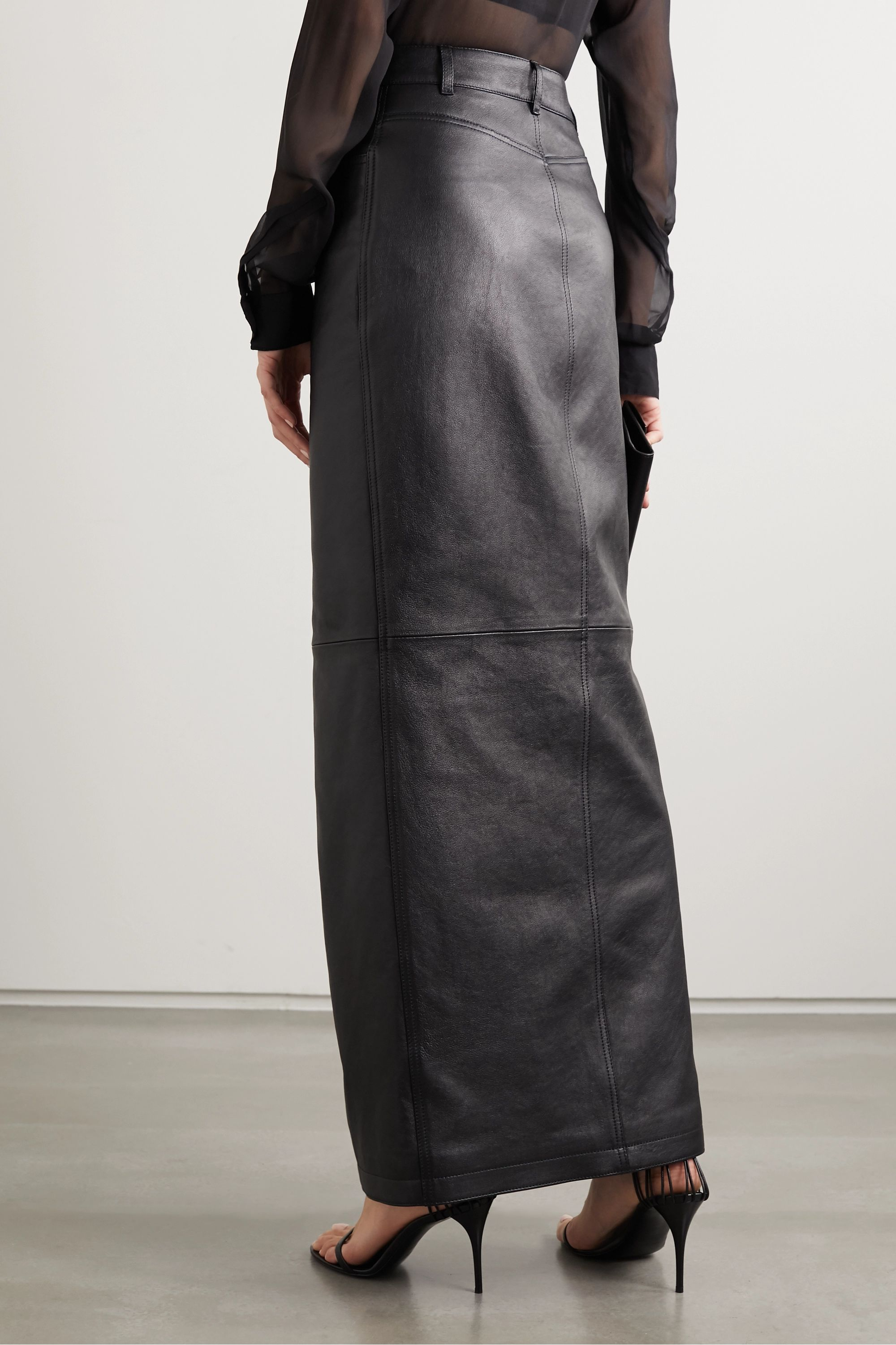 SAINT LAURENT Leather maxi skirt