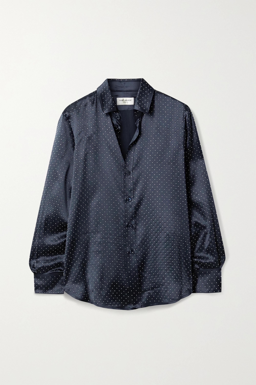 SAINT LAURENT Studded silk-satin shirt