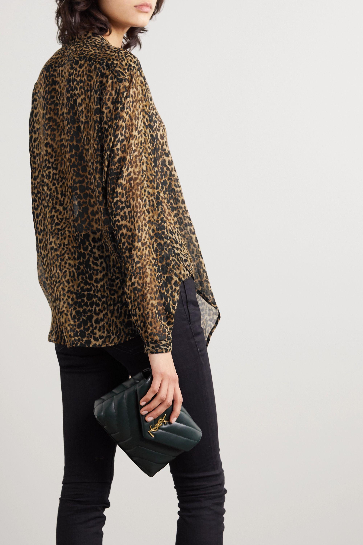 SAINT LAURENT Leopard-print wool-gauze shirt