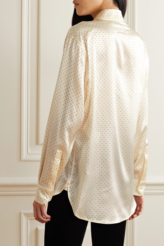 SAINT LAURENT Studded silk-satin blouse