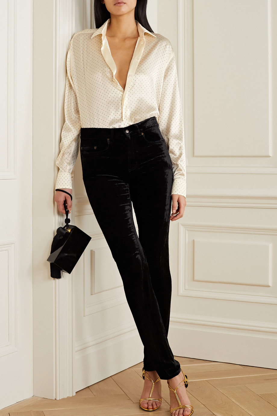 SAINT LAURENT Studded silk-satin blouse