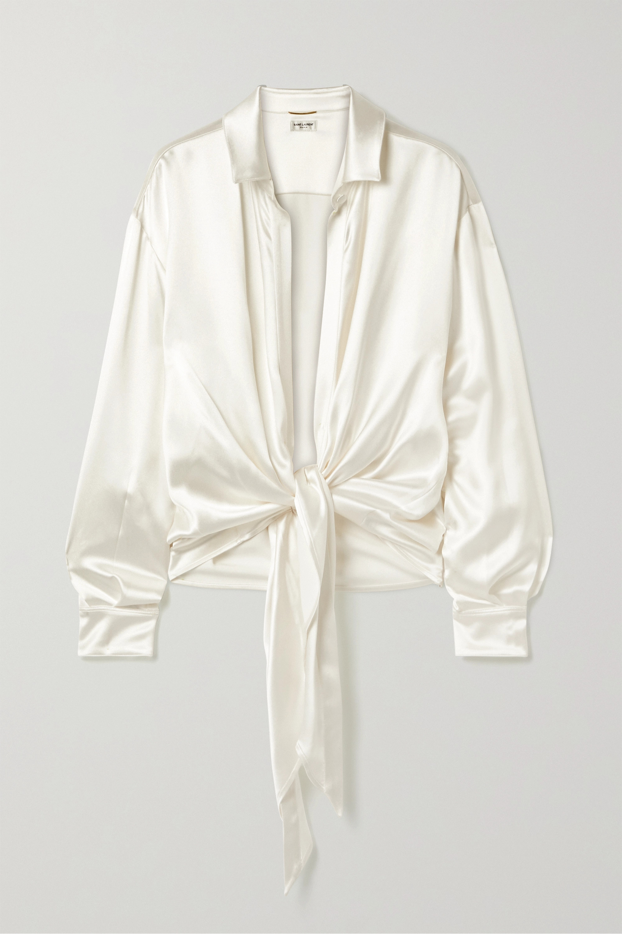 SAINT LAURENT Tie-front silk-satin blouse