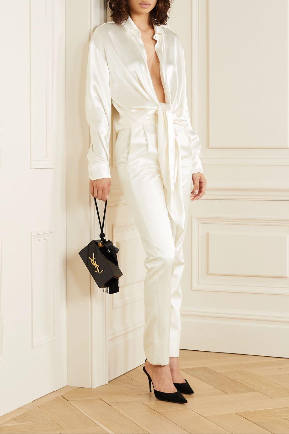 SAINT LAURENT Tie-front silk-satin blouse