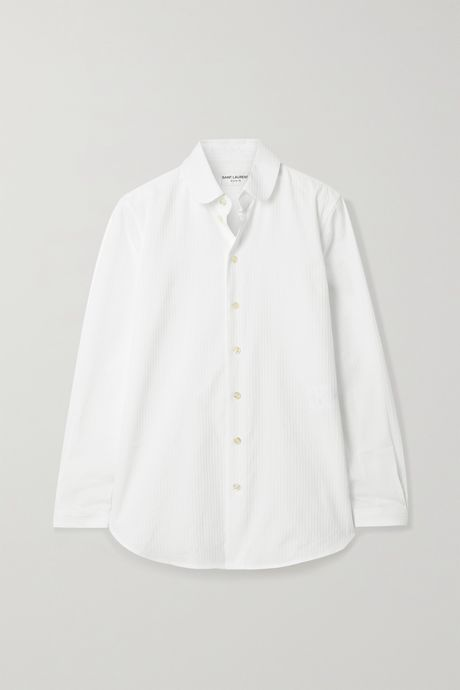 White Ribbed cotton-poplin shirt | SAINT LAURENT ih5TXN