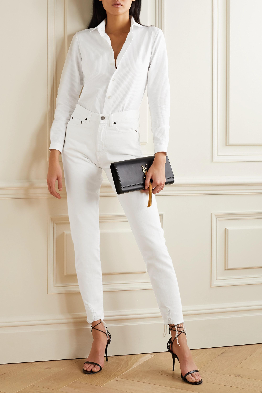 SAINT LAURENT Ribbed cotton-poplin shirt