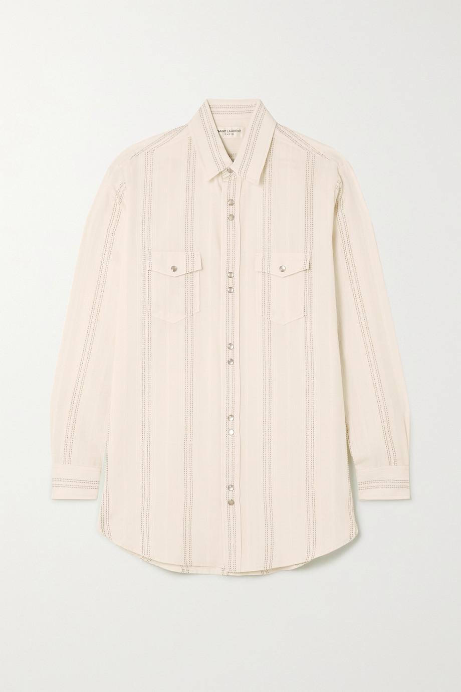 SAINT LAURENT Striped modal-blend shirt