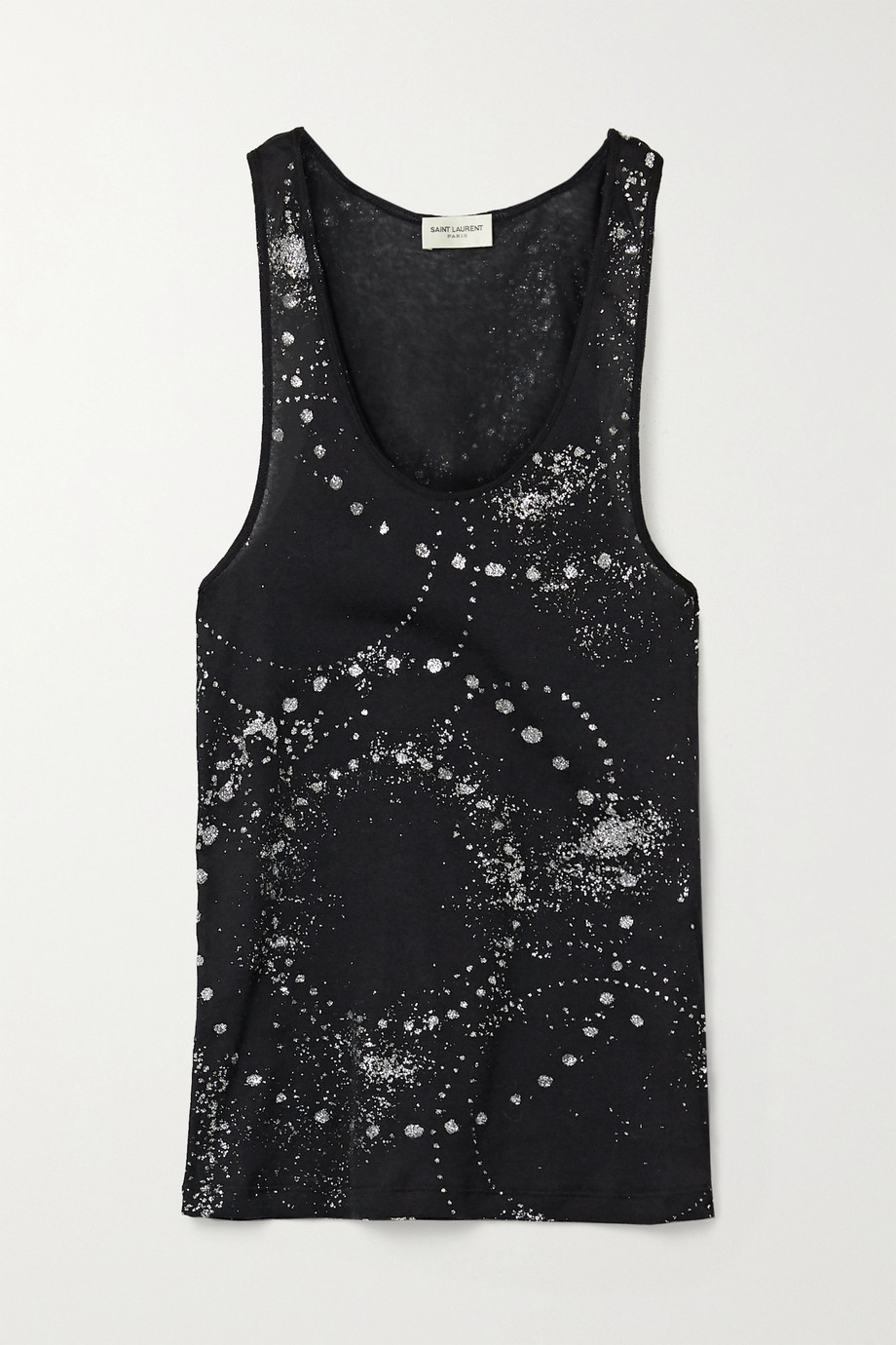 SAINT LAURENT Glittered cotton-jersey tank