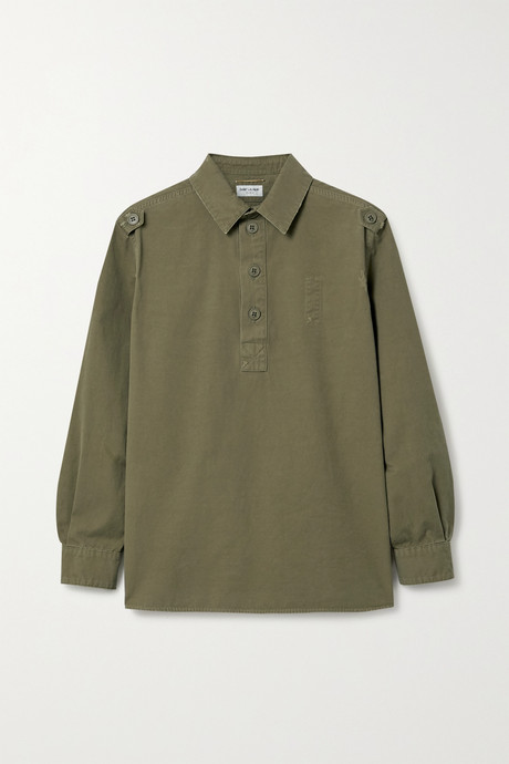 Army green Distressed cotton top  | SAINT LAURENT Wy94xK