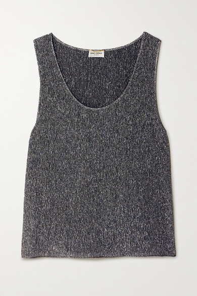 Metallic Silk Blend Tank by Saint Laurent