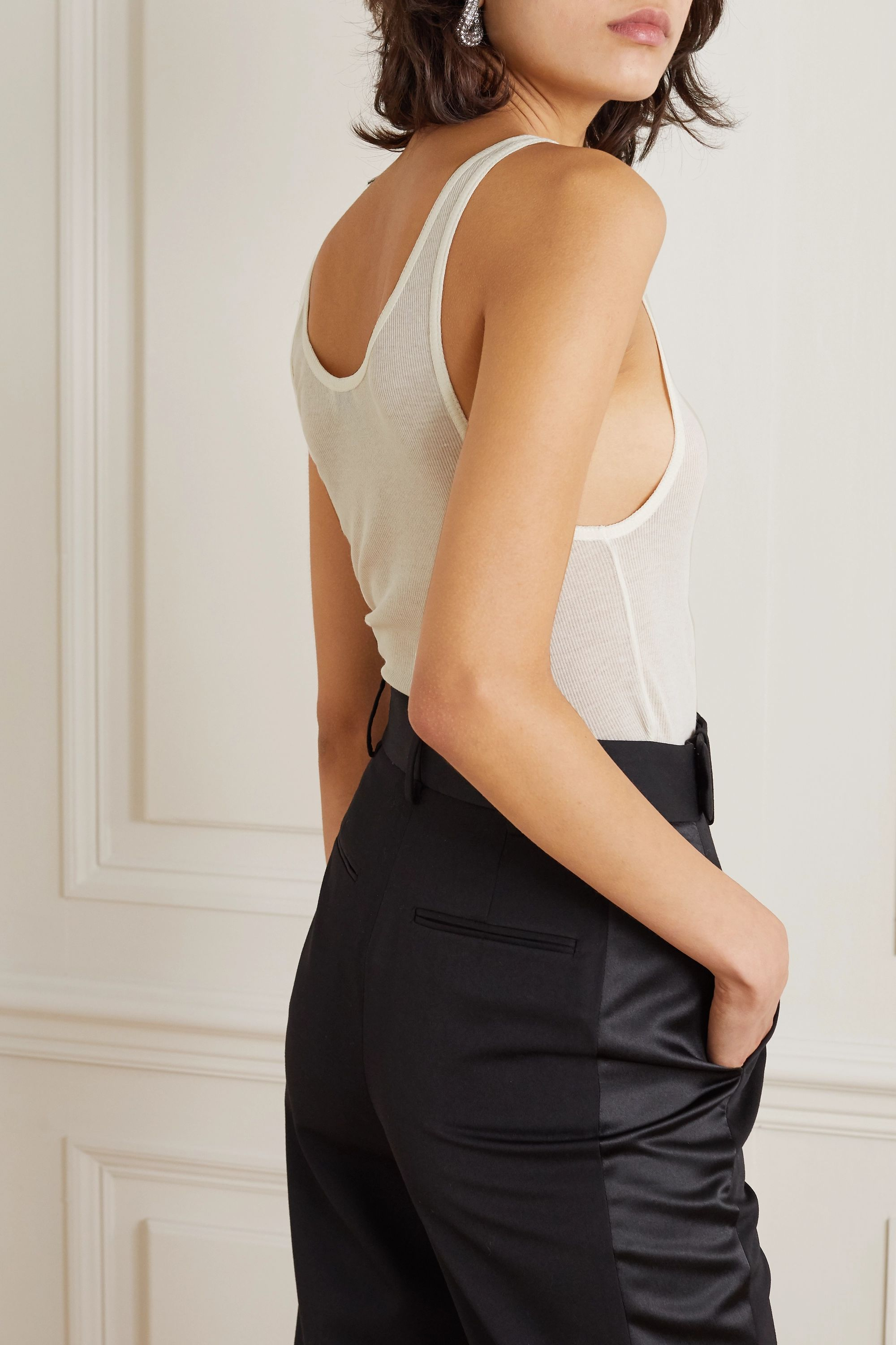 SAINT LAURENT Ribbed modal and cotton-blend jersey tank