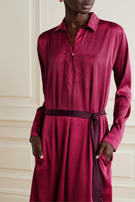Belted canvas-trimmed crinkled-satin midi dress