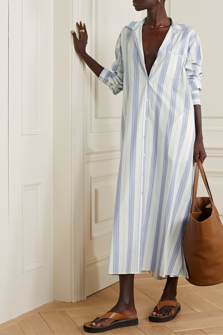 forte_forte Striped slub cotton and linen-blend maxi dress