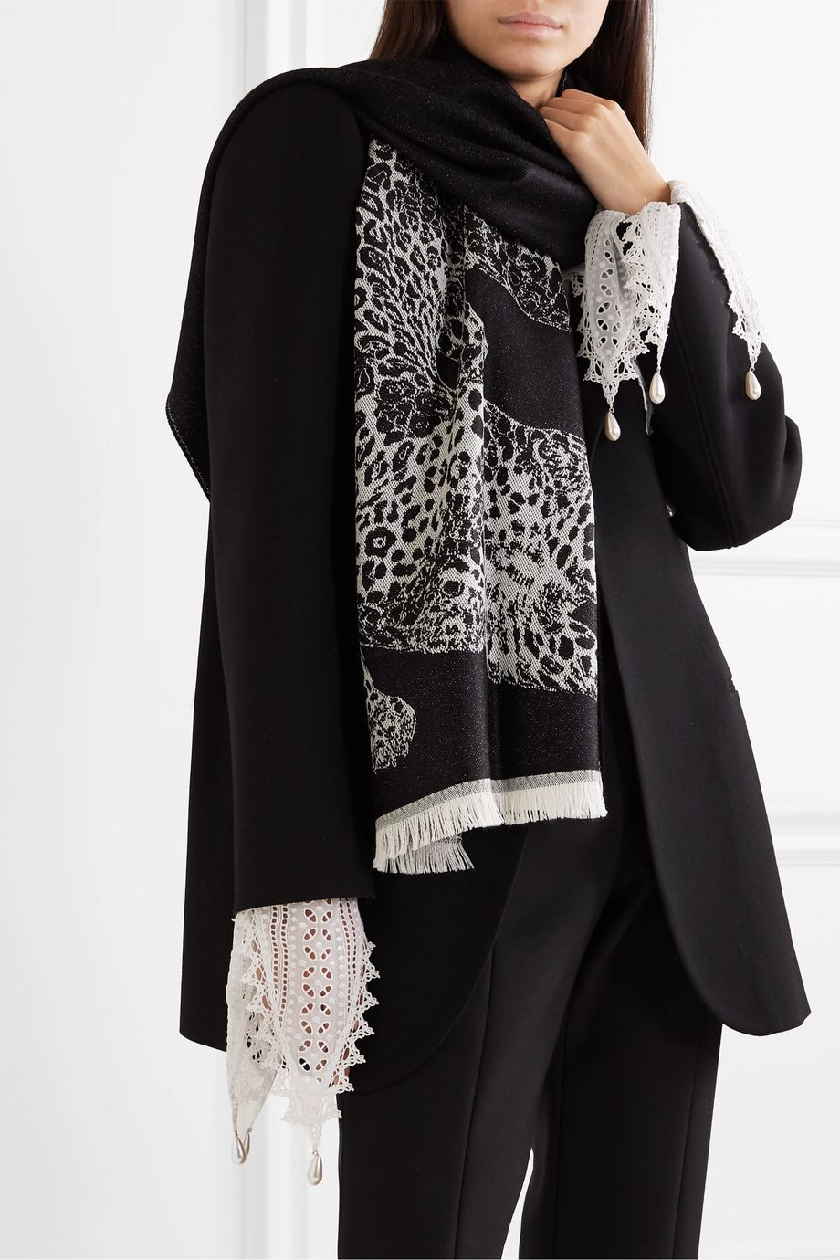 Alexander McQueen Fringed wool-jacquard scarf