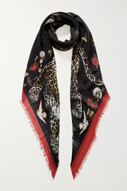 Alexander McQueen Regal Leopard printed modal and wool-blend scarf