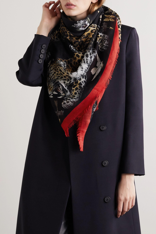 Alexander McQueen Regal Leopard printed modal and wool-blend scarf