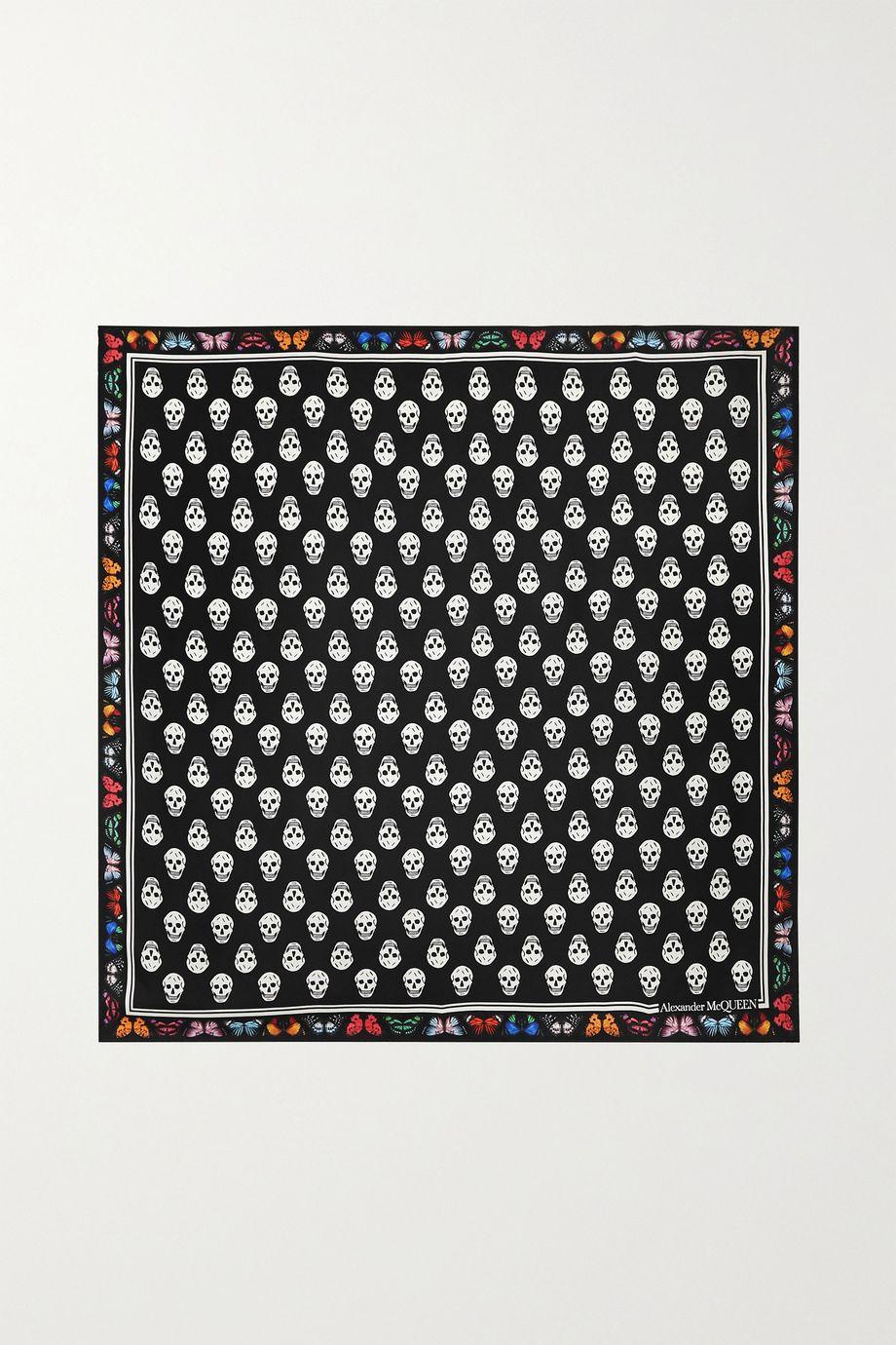 Alexander McQueen Printed silk-twill scarf