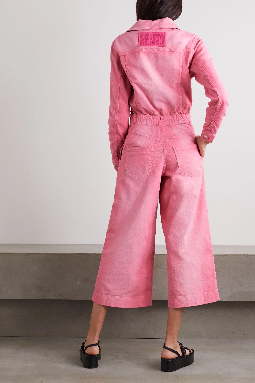KENZO Cropped appliquéd denim jumpsuit