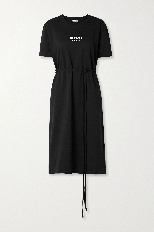 Belted logo-print cotton-jersey midi dress
