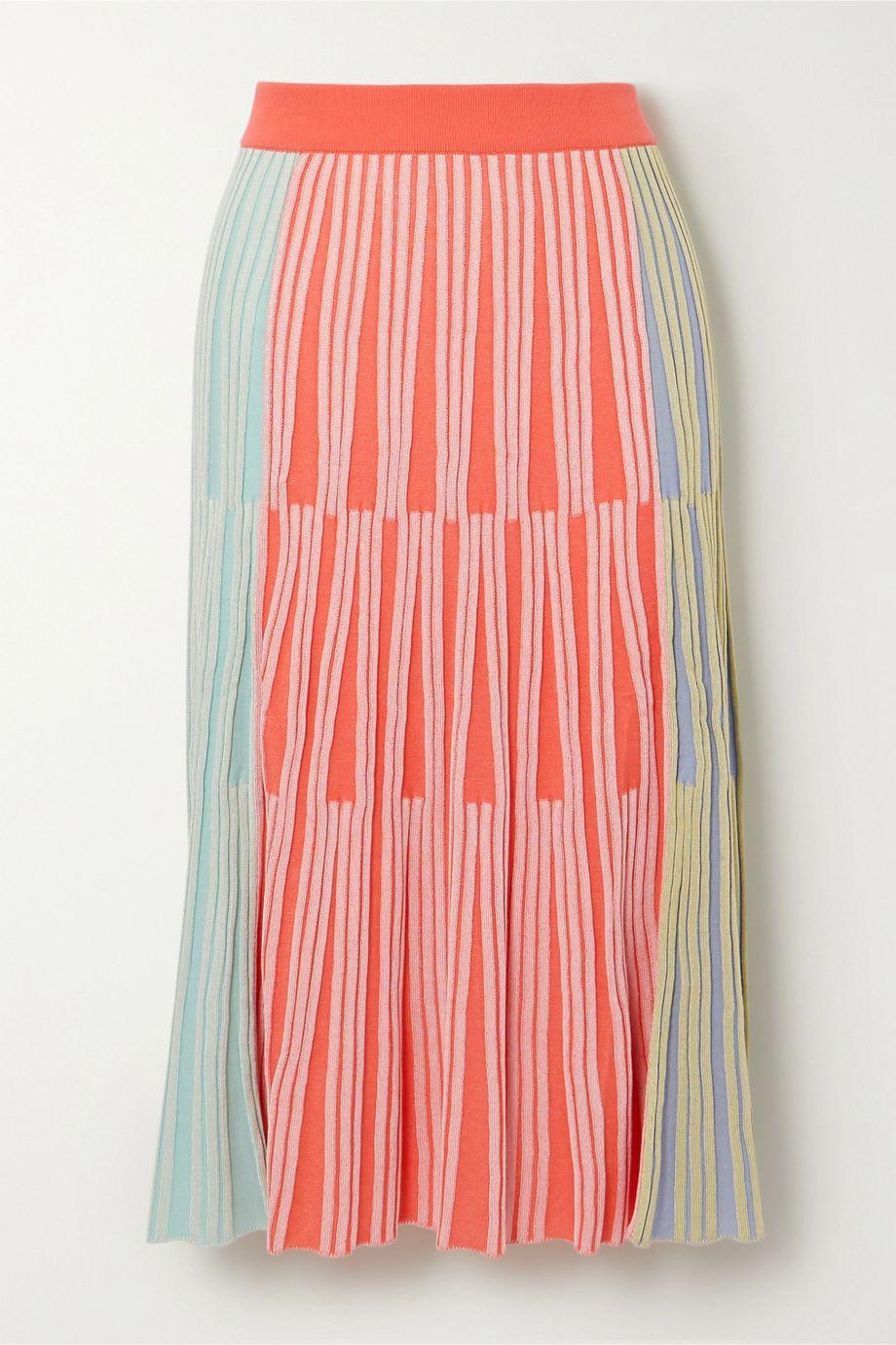 KENZO Color-block ribbed-knit midi skirt