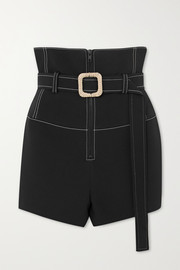 Belted topstitched scuba shorts